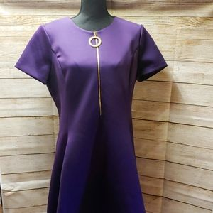 DKNY Sexy Zip Down Dress, Size 14, Purple, Stretch